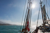 Sailboat rigging on Atlantic Ocean Greenland