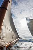 Wind in sails of sailboat on ocean