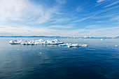 Melting polar ice over blue Atlantic Ocean Greenland
