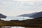 Scenic view ship in remote Disko Bay West Greenland