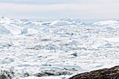 Sunny melting glacial ice Atlantic Ocean Greenland