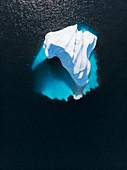 Aerial view majestic iceberg