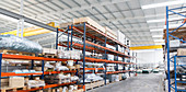 Pallets and equipment on shelves in warehouse