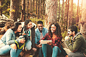 Young friends using digital tablet in woods