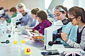Students using microscope, conducting scientific experiment