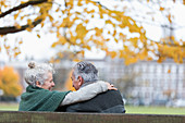 Affectionate senior couple hugging on bench in autumn park