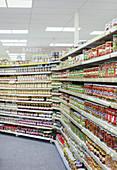Jars of food lining supermarket shelves