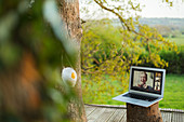 Face mask hanging on tree next to friends video chatting