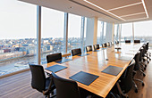 Long conference table in highrise office