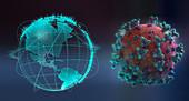 Pandemic outbreaks on globe next to coronavirus