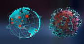 Coronavirus next to pandemic outbreaks on globe