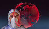 Scientist next to pandemic outbreak globe