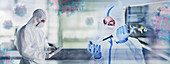 Scientists studying coronavirus in laboratory