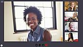 Happy women friends video conferencing in COVID-19 quarantine