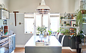 Pendant lights over domestic kitchen island