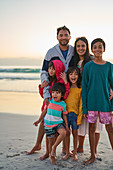 Portrait happy family on beach
