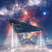 Spaceship landing on alien planet, illustration