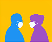 Elderly couple wearing face masks, illustration