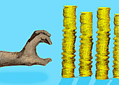 Hand grabbing a pile of coins, illustration