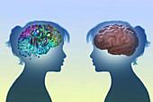 AI versus human intelligence, illustration