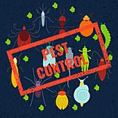 Pest control, conceptual illustration