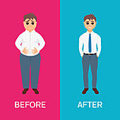 Man before and after weight loss, illustration