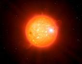 Artwork of white dwarf red dwarf binary
