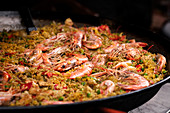 Close up Spanish seafood paella