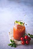 Iced gazpacho soup in jar