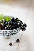 Juicy fresh black currants in bowl