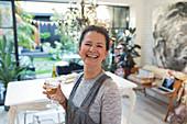 Portrait woman drinking white wine
