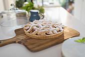 Fresh homemade baked lattice apple pie