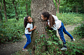 Cute sisters playing at tree trunk in woods