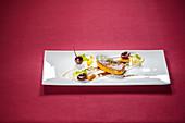 Fried duck foie gras with cherries