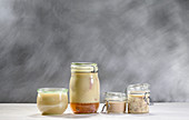 Jars of artichokes, duck legs, duck rillete and duck liver sausage