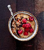Espresso cream with raspberries