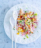 Vegetable salad with trout fillets