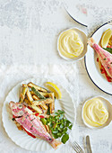 Roasted red mullet with courgette fries and saffron aioli