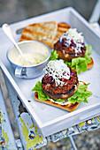 Smoky mushroom burgers with roasted garlic mayo