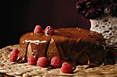 Appetizing homemade heart shaped cake with chocolate topping and fresh raspberries
