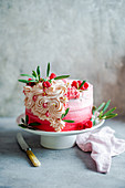 Sponge cake with pink buttercream icing