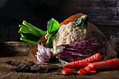 Eggplant, garlic, cauliflower, green onion and carrots