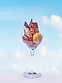 Ice cream sundae with chocolate cream and sauce