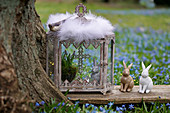 Osterhase und Traubenhyazinthen im gläsernen Schrein und Osterhasen auf Holzbrett