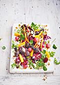 Autumn root salad with oranges