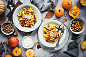Autumnal pumpkin pasta with sage and ham