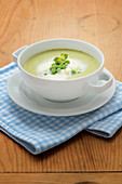 Pea and mint soup with whipped cream