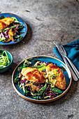 Succulent chicken on stir-fried vegetable