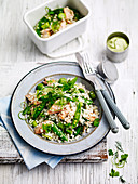 Salmon, sugar snap pea and pearl couscous salad 'to go'