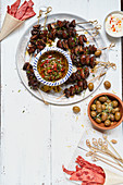 Marinated mushroom kebabs with chimichurri salsa